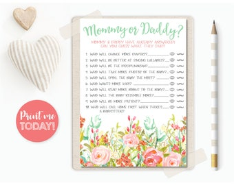 Mommy or Daddy? | Baby Shower Game | Girl Baby Shower | Baby Shower Bundle | Floral | INSTANT DOWNLOAD | Printable | #100