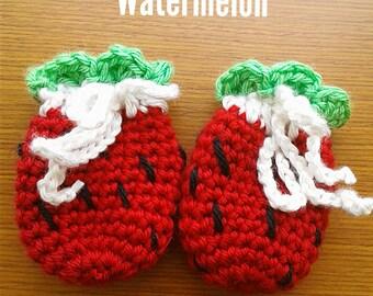 Watermelon Crocchet Baby Mittens