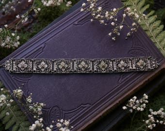 Ornate Silver Bracelet Antique Vintage Filigree Art Nouveau
