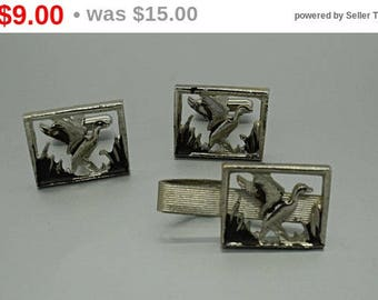 Vintage Duck Cuff Links and Tie Clip