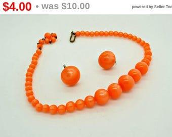 Orange Moon Glow Necklace with Earrings
