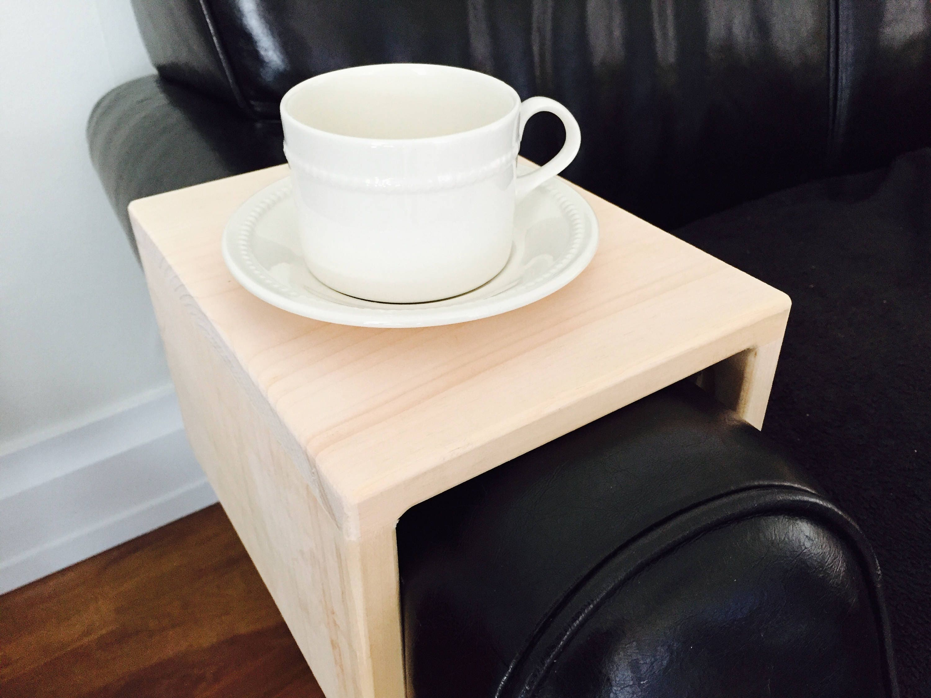 Custom Raw Wood Sofa Arm Rest Tray Table Couch Arm Table plate