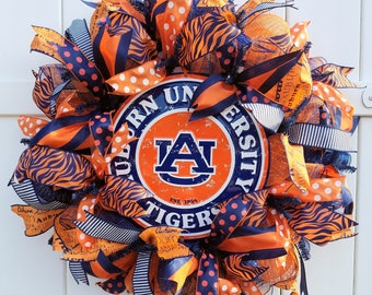 Auburn Wreath, Auburn Tigers Wreath, Auburn University Wreath, War Eagle Wreath, Auburn Tigers Deco Mesh Wreath, Auburn Mesh Wreath