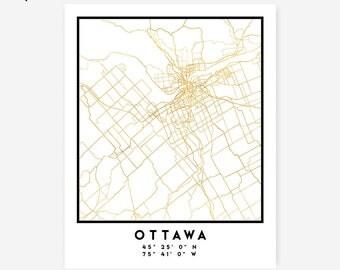 Ottawa Map Coordinates Print - Canada City Street Map Art Poster, Gold Ottawa Map Print, Ottawa Canada Coordinates Canadian Poster Map Print