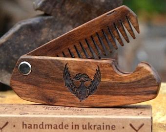 BIG SALE Husband Boyfriend Gift Wooden Folding Comb Men Grooming kit Beard care Balm Brush Hair Pocket Gift for Dad Father Business Man Guy