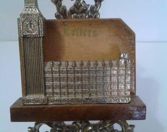 Vintage Metal and Wood Big Ben Houses of Parliament Letter Holder