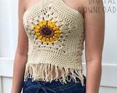 The Helia Crop Top PDF DIGITAL DOWNLOAD Crochet Pattern, Crochet Sunflower Crop Top Pattern, Boho Granny square flower crochet halter top