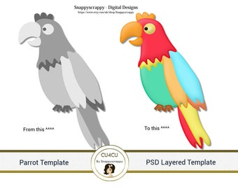 Parrot Photoshop Layered Templates, PSD Layered Templates