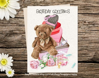 Printable  Birthday Card, Bear, Greeting Card, Birthday  Printable Cards, Digital Download