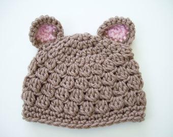 Baby Bear Hat, Bear Beanie, Crochet Baby Hat, Baby Newborn Hat, Newborn Beanie, Baby Girl Hat, Baby Girl Beanie, Newborn Photo Prop