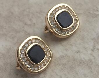 Vintage Christian Dior Black Jet Rhinestone Clip On Earrings