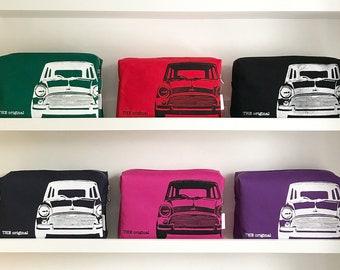 Classic Mini Cooper Hand Screen Printed Wash Bag
