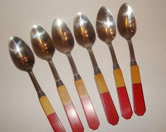 ON SALE NOW 6 Vintage Bakelite Red & Butterscotch Yellow Teaspoons