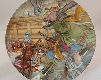 """Wedgwood Wind in the Willows Collectors Plate, """"The Four Heroes"""" Toad, Rat, Mole & Badger– by Eric Kincaid"""