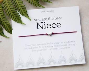 Best Niece Wish Bracelet, Niece birthday, Custom bracelet, Create your own, Niece gift, Family Gift, Thinking of You, Heart Bracelet