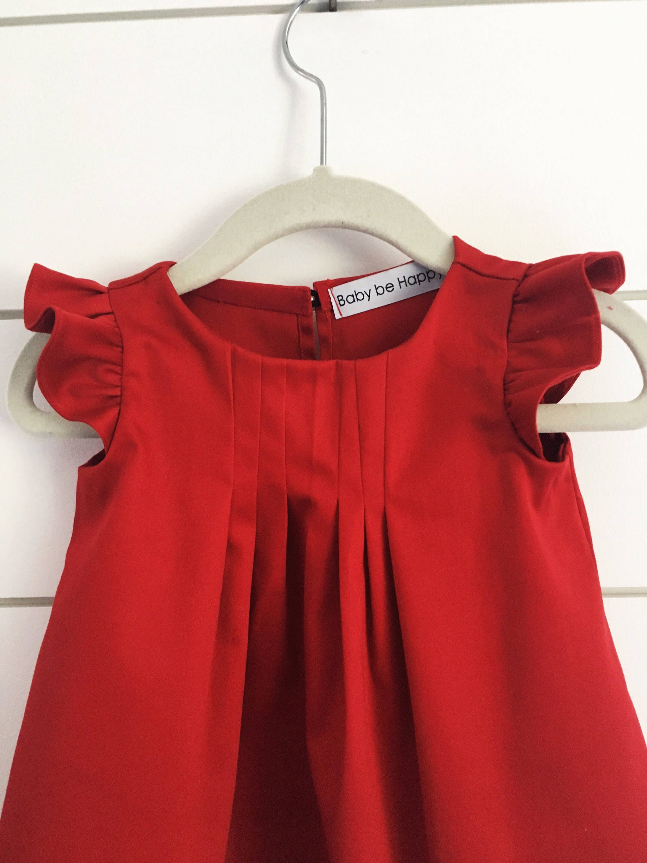 Red Toddler Dress Flutter Sleeve Dress Red Baby Dress Girls Red
