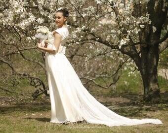 Simple wedding dress, Long train wedding dress, Custom wedding dress, Satin wedding dress, Modern wedding dress, 0062