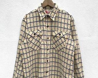 20% OFF Vintage Sugar Cane Long Sleeve Button Up Double Pockets / Sugar Cane Japan / Japanese Brand / Sugar Cane Usa