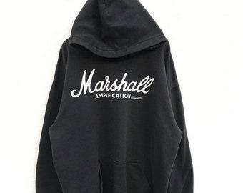 """20% OFF Vintage Marshall Amplification Hoodie / Marshall Sweater / Black Hoodie / Armpit 25"""""""
