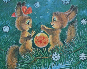 Vintage Soviet postcard, Squirrel, Happy New Year, 1980s used card, illustration, collectible paper USSR postcard