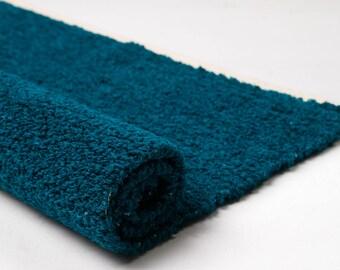 Turquoise cotton rug, soft boucle yarn rug, floor runner, bathroom rug, woven rug, washable, handmade on the loom, ready to ship