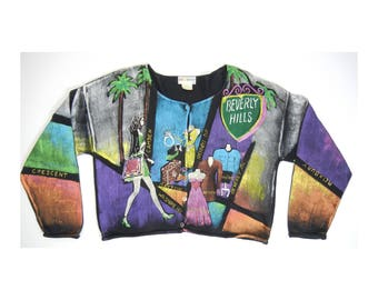 Vintage 90s KOLORWAY Womens Cardigan Sweater Hand Painted Wearable Art Beverly Hills Rodeo Dr USA XL 2
