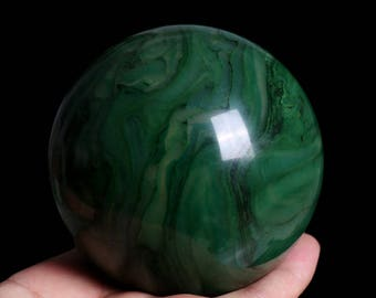 Natural African Green Jade Crystal Sphere Ball Healing, Crystals and Minerals , Wiccan Pagan Crystal J911