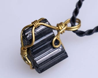 Raw Black Tourmaline Pendant,Healing Crystal Pendant ,Black Tourmaline pendants ,Black Tourmaline necklace healing + Free Jewel Case J817