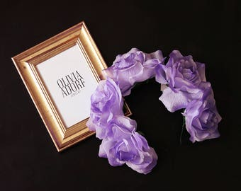 Unique Handmade Flower Crown with Violet Roses