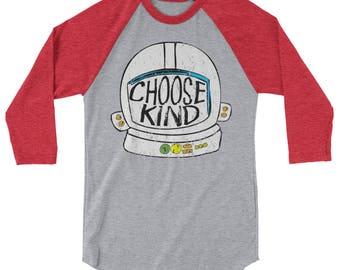 Adult - Choose Kind Helmet Anti Bullying Kindness Long Sleeve T-Shirt Tee 3/4 Sleeve Raglan Baseball Shirt Great Teacher Shirt Be Kind Shirt