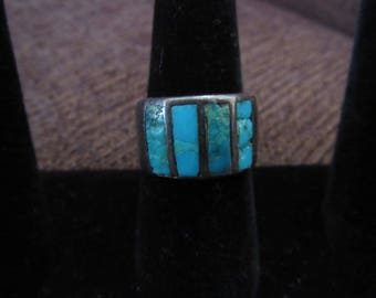 Vintage Silver and Turquoise Ring Sz 7 Free Shipping