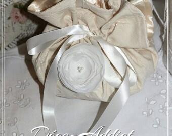 Beautiful damask ecru and white chiffon flower pouch