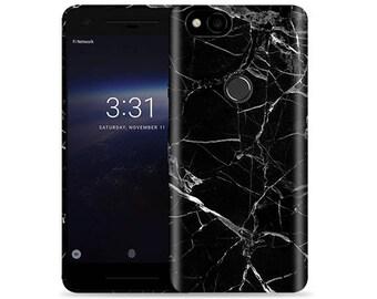Google Pixel 2 Case - Pixel 2 Case #Black Marble Cool Design Hard Phone Cover