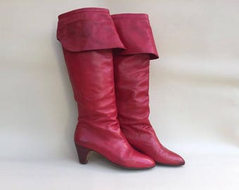 70s  Red  Boots / Vintage 70s Red Boots / Leather Boho Chic Boots /  Red  Boots / Boots EU 36 USA 5 UK 3