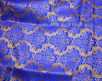 Royal Blue Brocade Fabric Banarasi Silk Brocade Fabric by the Yard, Banaras Brocade Art Silk for Wedding Dress, Indian Silk