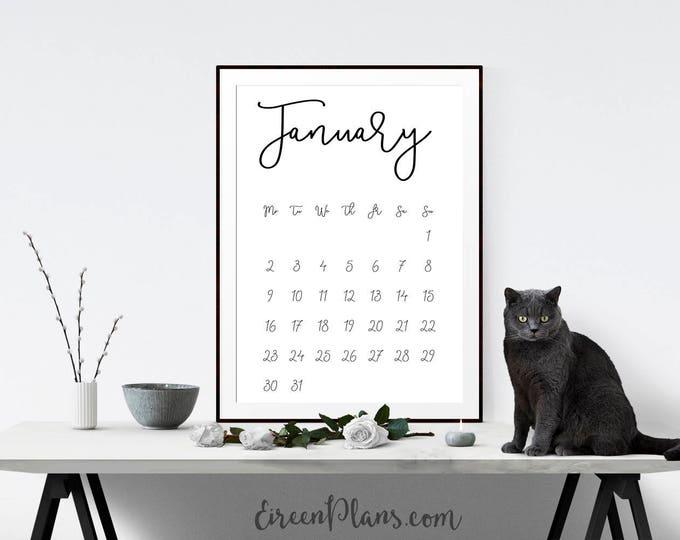 Sale! Printable 2017 Calendar, Wall Calendar, Modern Calendar, Minimalist Calendar, Month, A4, Letter, DIY Calendar, PDF Instant Download