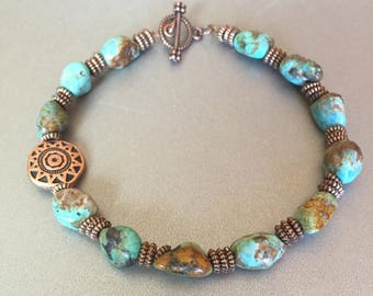 Southwestern Turquoise Bracelet, Copper Bracelet, Natural Turquoise Beaded Bracelet, Western Jewelry, Cowgirl Jewelry