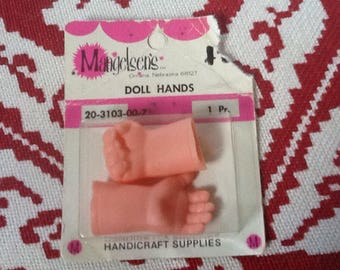 "Doll hands, Mangelsen's craft supplies, 1 3/4"" pink, 1 pair, 1 open hand and 1 closed hand"