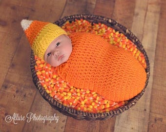Candy Corn Cocoon & Hat Set Photo Prop *Halloween Costume* Handmade Crocheted RTS Made in the USA