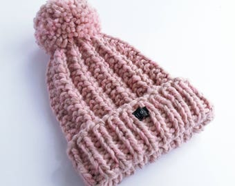 Blush Pink Bobble Hat. Thick chunky womens hand knit pom pom beanie. Wool and premium acrylic blend. Large detachable pom pom. HoBo Handmade