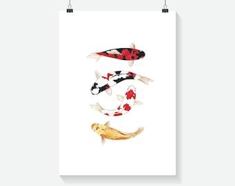Minimalist Koi Fish Print - Home Decor - Hippie Art Print -  Art Print - Summer Print- Floral Print- Supernatural