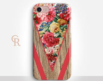 Floral Phone Case For iPhone 8 iPhone 8 Plus iPhone X Phone 7 Plus iPhone 6 iPhone 6S  iPhone SE Samsung S8 iPhone 5 Bohemian Boho Wood