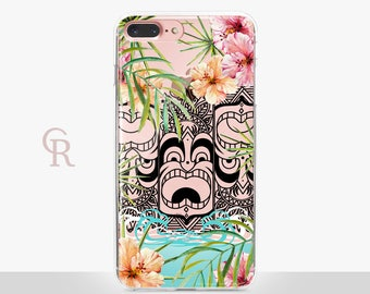 Tropical Hawaii Clear Phone Case - Clear Case - For iPhone 8, 8 Plus, X, iPhone 7 Plus, 7, SE, 5, 6S Plus, 6S,6 Plus, Samsung S8,S8 Plus,