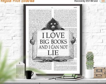 SALE I Love Big Books Reading Quote Printable Art Dictionary Page Art Poster Inspirational Quote Instant Download Wall Art