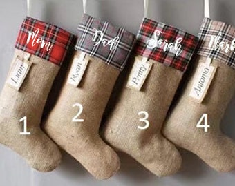 Personalized Christmas Stockings, DIY Stockings too, Family Christmas Stockings, Country Plaid Burlap Stockings,