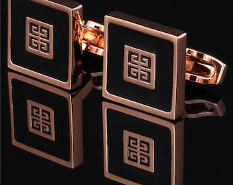 GIVENCHY Cufflinks in Yellow Gold Plated Men Jewelry New
