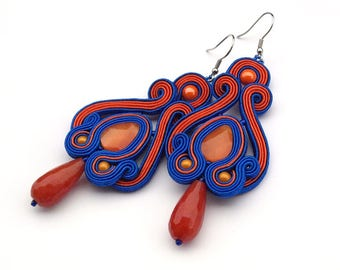 Orange blue statement soutache earrings. Long dangle gemstone earrings, jade teardrop earrings, elegant party earrings, Valentine's gift