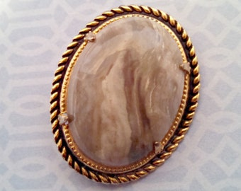 Vintage Brooch, Oval Gray Marbled Lucite Cabochon, Gold Tone Braid Trim, Circa 1980s, Includes Gift Box