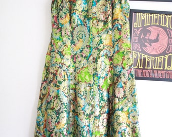 Vintage green floral disco psychedelic 70s metallic gypsy maxi dress XL boho