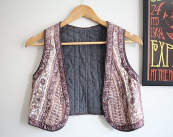 Vintage floral paisley cotton Indian waistcoat gilet 70s jacket S